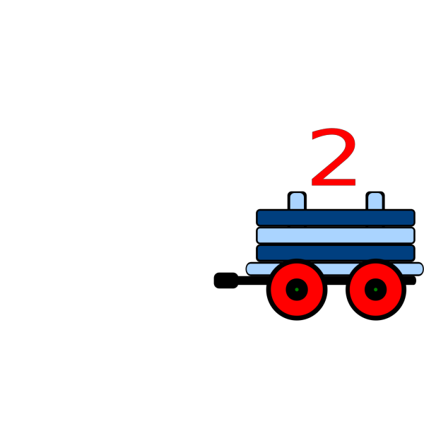 Toot Toot Train Carriage With 2 In Blue PNG Clip art