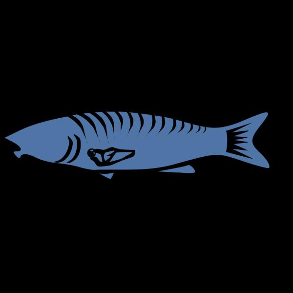 Simple Blue Fish Art PNG Clip art
