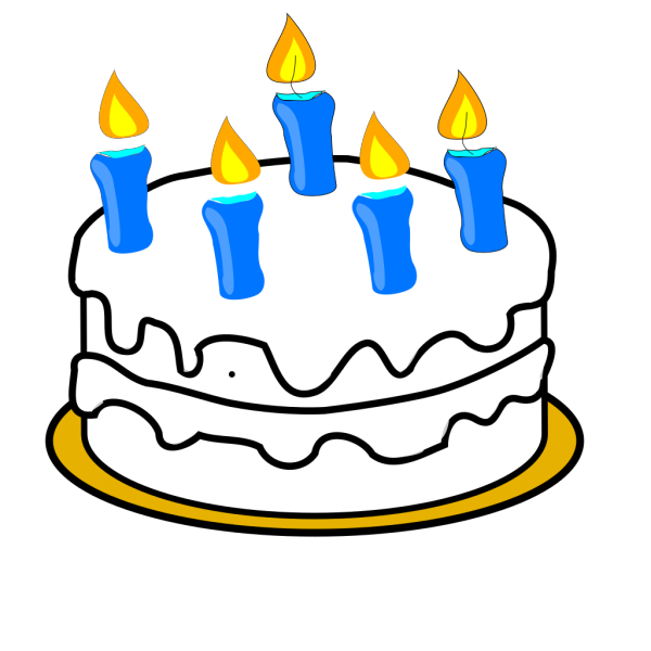 Birthday Cake With Blue Lit Candles PNG Clip art