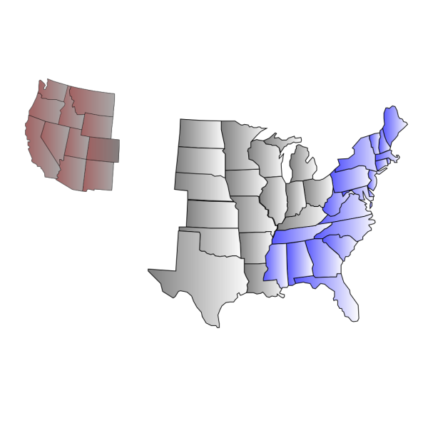 Three-region U.s. Map PNG images