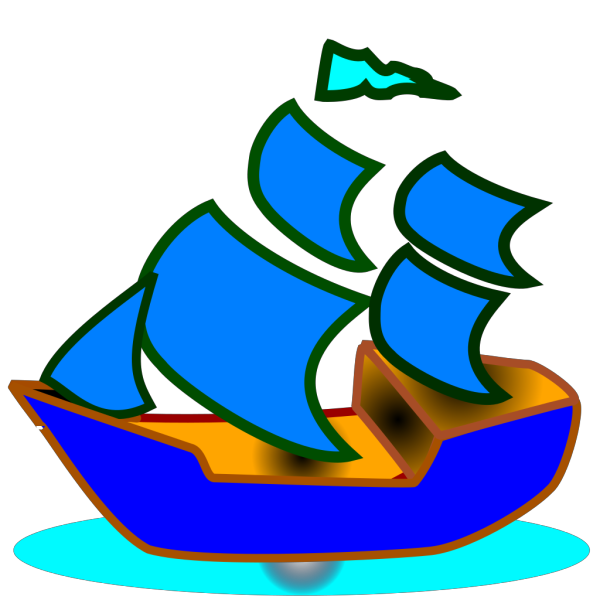 Blue Boat PNG clipart
