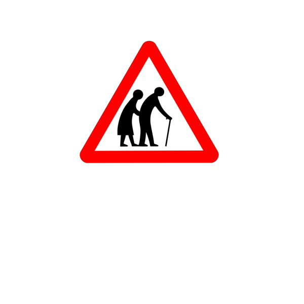 Old People Crossing White On Blue PNG Clip art