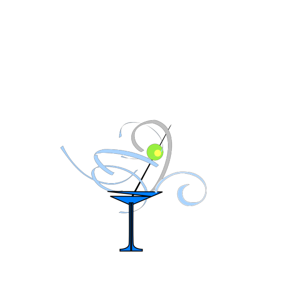 Martini Glass Blue/grey PNG Clip art