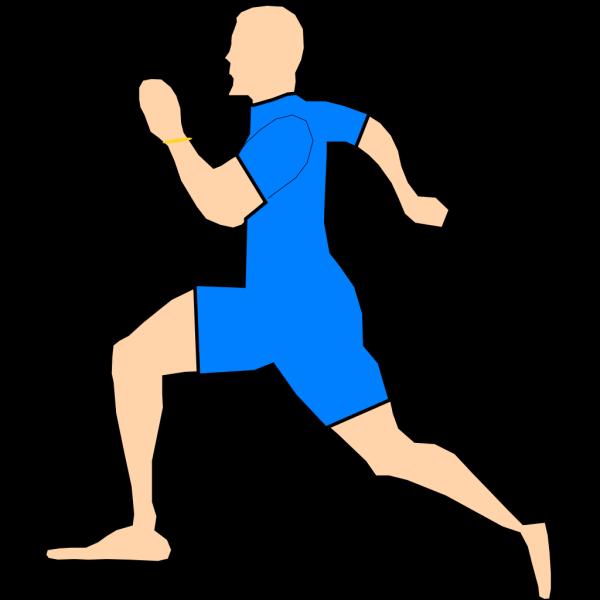Man Running In Light Blue PNG Clip art