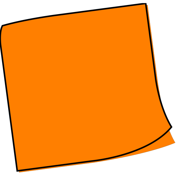 Shaded Blue Orange Sticky Note PNG Clip art