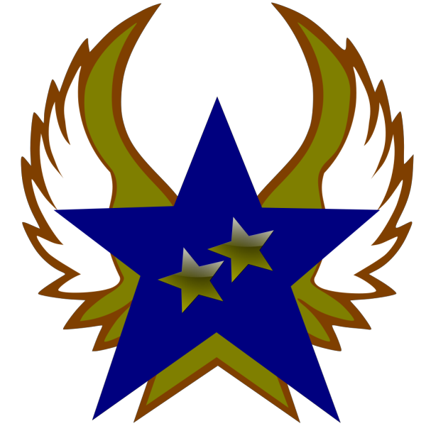 Blue Star With 2 Gold Star And Wings PNG Clip art