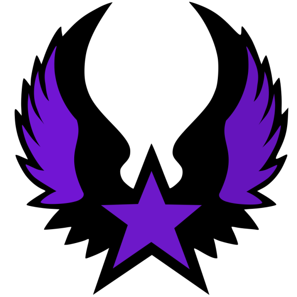 Blue Star With 5 Gold Star And Wings PNG Clip art