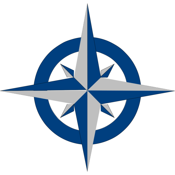 Compass Rose - Blue And Grey PNG Clip art