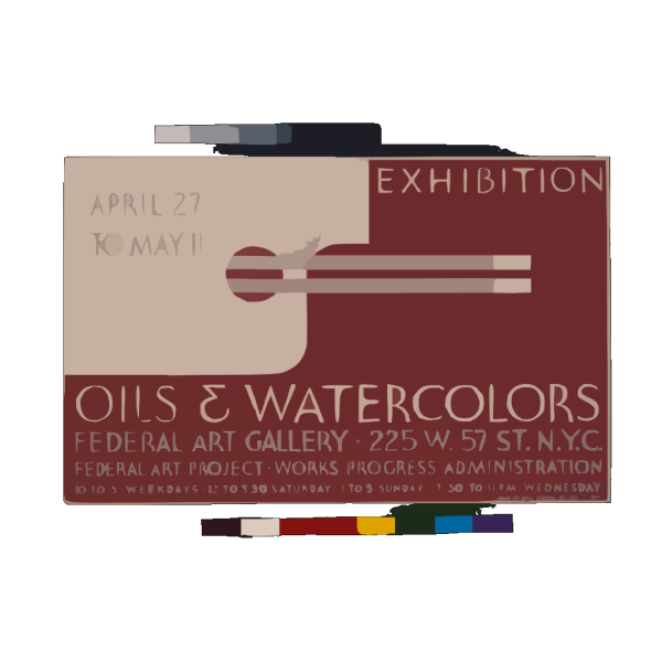 Exhibition - Oils & Watercolors, Federal Art Gallery Federal Art Project, Works Progress Administration. PNG Clip art