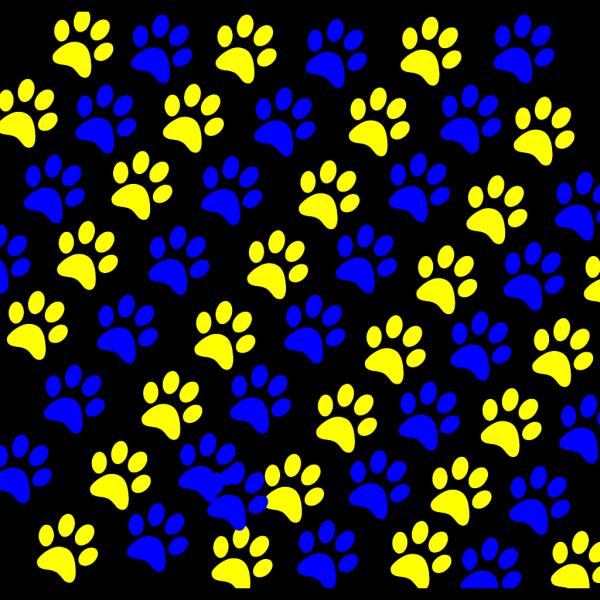 Blue/gold Paw Prints PNG Clip art