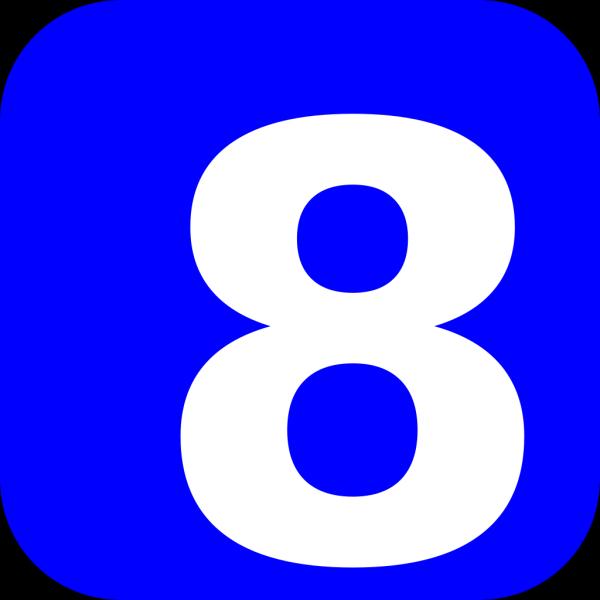 Number 8 Blue PNG Clip art