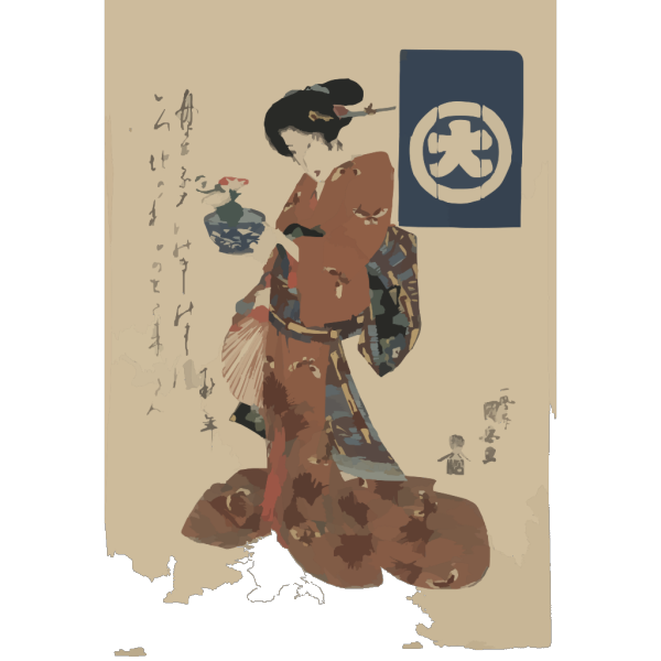 Beauty Carrying Morning Glory In A Basin. PNG icons