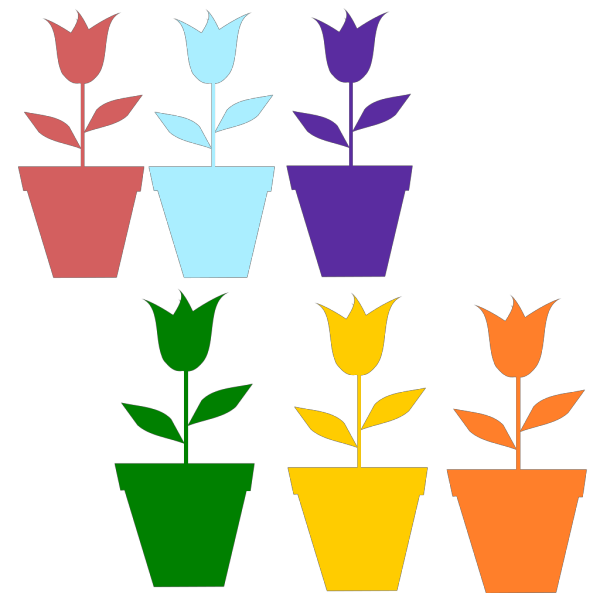 Tulips In Pot Silhouettes PNG Clip art