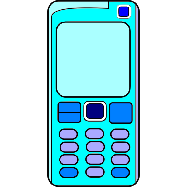 Mobile Phone With Blank Screen (blue) PNG Clip art