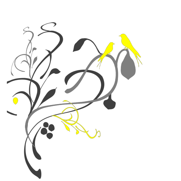Birds On A Branch Black/grey PNG Clip art