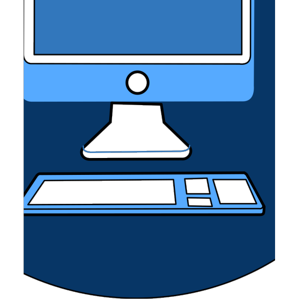 Blue Computer And Keyboard PNG Clip art