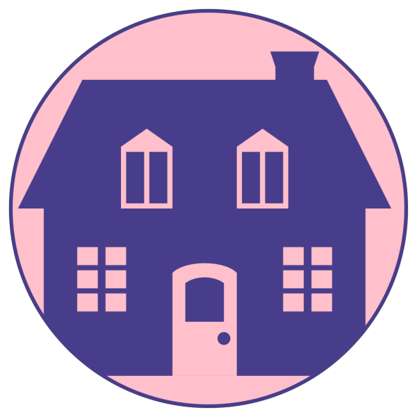 Little Blue House With Pink Background PNG Clip art