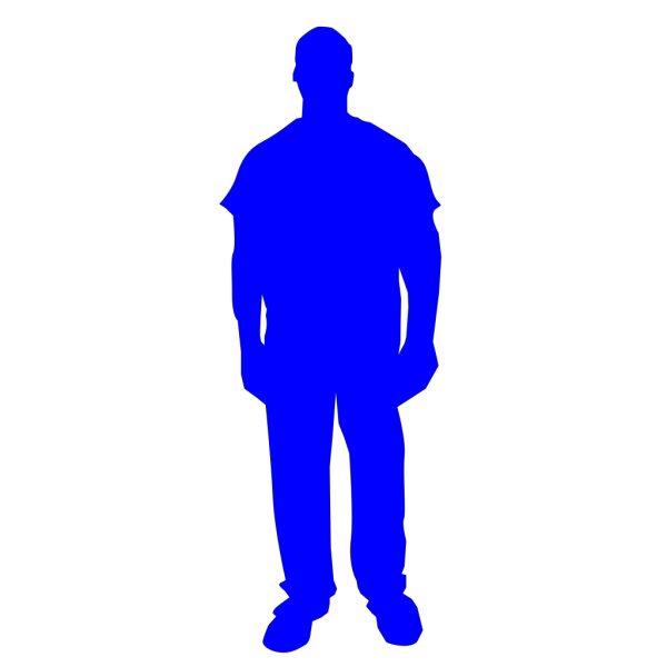 Solid Blue Person Outline PNG Clip art