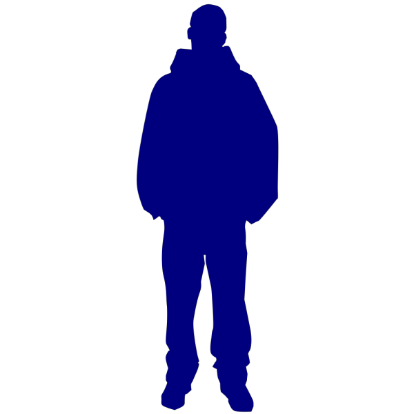 Solid Light Blue Person Outline PNG Clip art