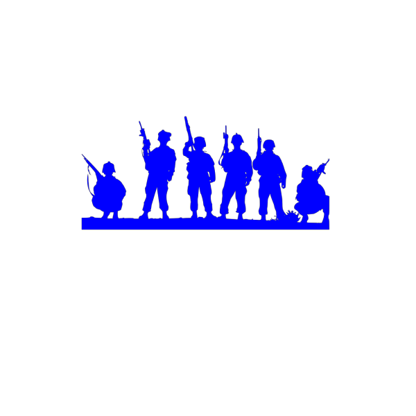 Blue Army Silhouette  PNG Clip art