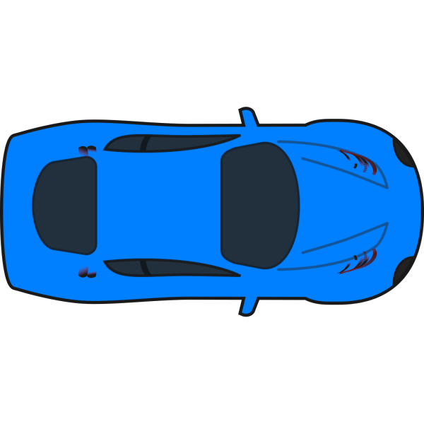 Light Blue Car - Top View PNG Clip art