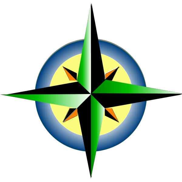 Compass Refreshing Green Blue With Yellow PNG Clip art