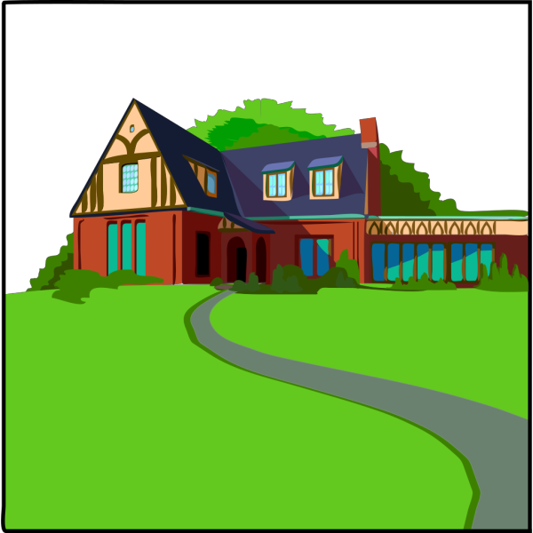 House With Blue Roof PNG Clip art
