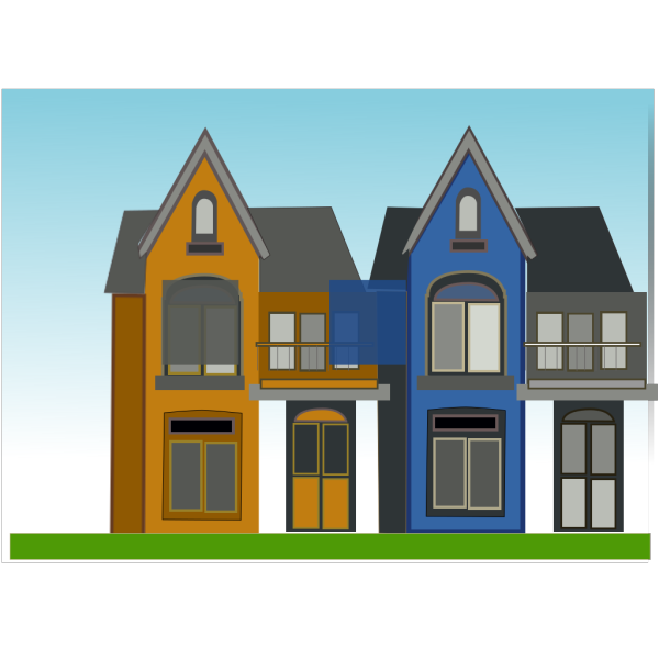 Orange And Blue Homes PNG Clip art