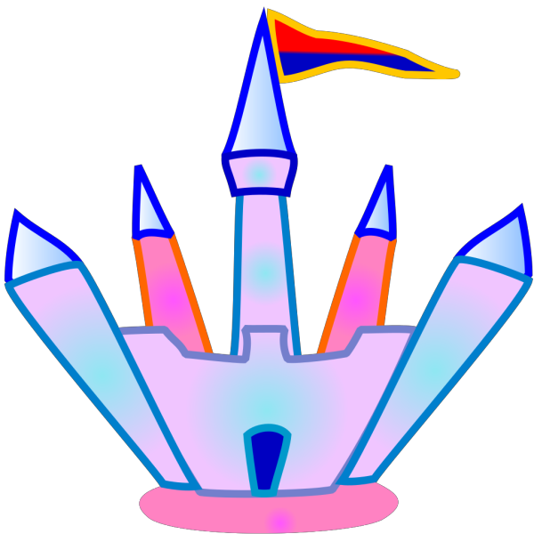 Blue And Pink Crystal Castle PNG Clip art
