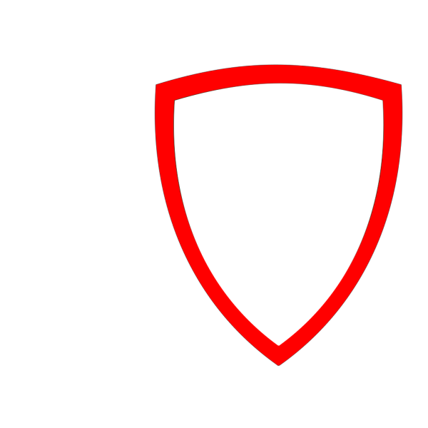 Shield, Wht W Red Border PNG Clip art