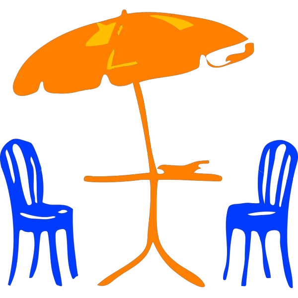 Table With Umbrella And Chairs PNG Clip art
