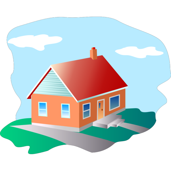 Cartoon House With Blue Sky PNG Clip art