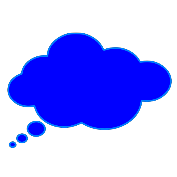 Wide Thought Bubble Blue PNG Clip art