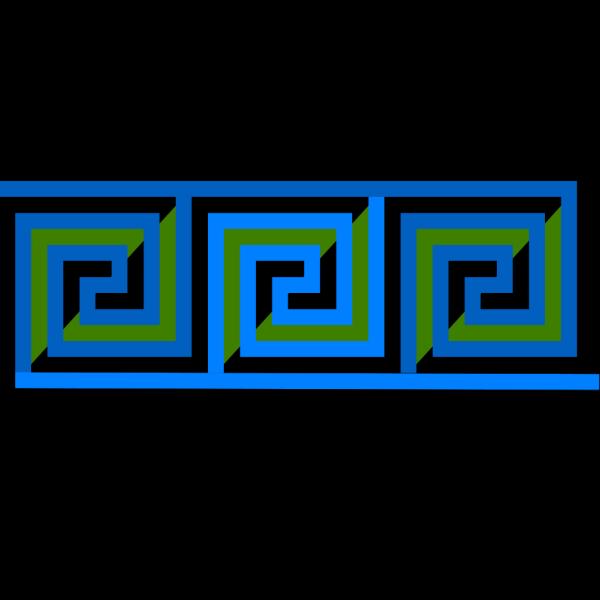 Blue Green Meander Border 3 Turns PNG Clip art