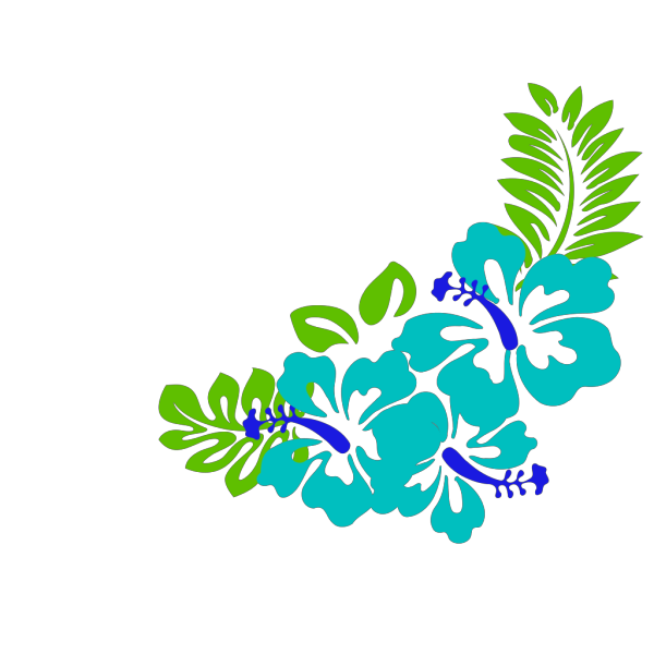 Blue Green Tropical Flowers PNG Clip art