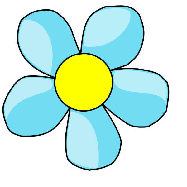 Turquoise Blue Flower With Yellow Center PNG Clip art