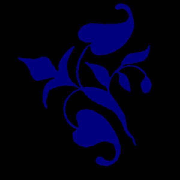 Navy Flower Corner Vine PNG Clip art