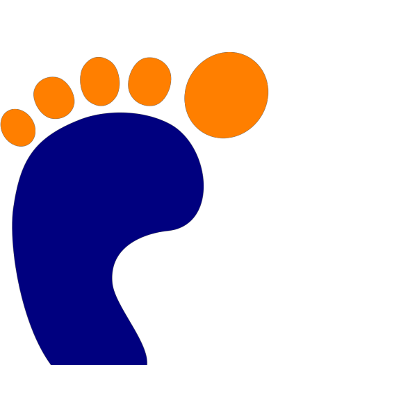 Blue Footprint With Orange Toes PNG Clip art