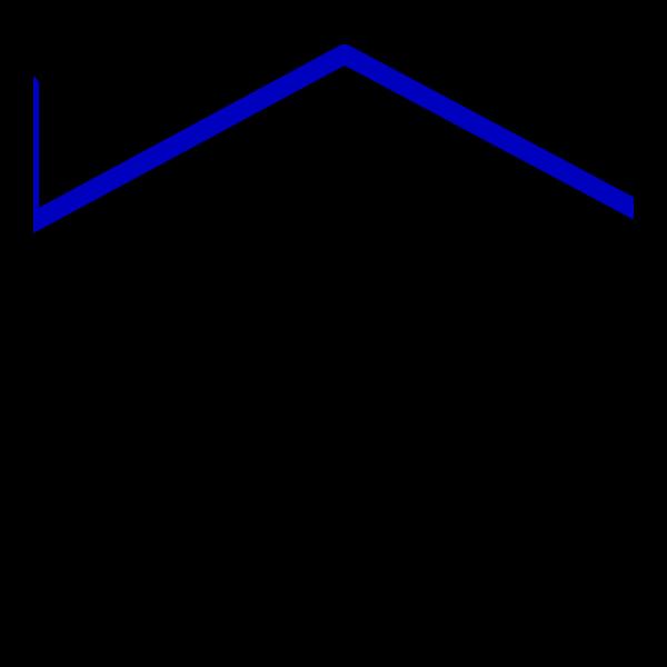 Thick Blue Line House PNG Clip art