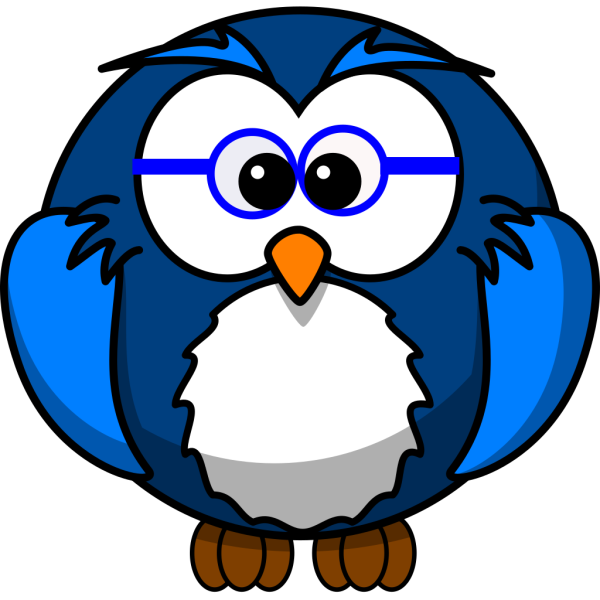 Blue Owl With Glasses PNG Clip art