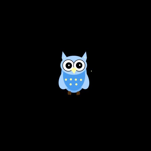 Blue Cartoony Owl PNG clipart