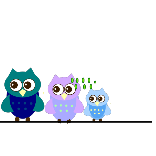 Blue Family Owl PNG clipart