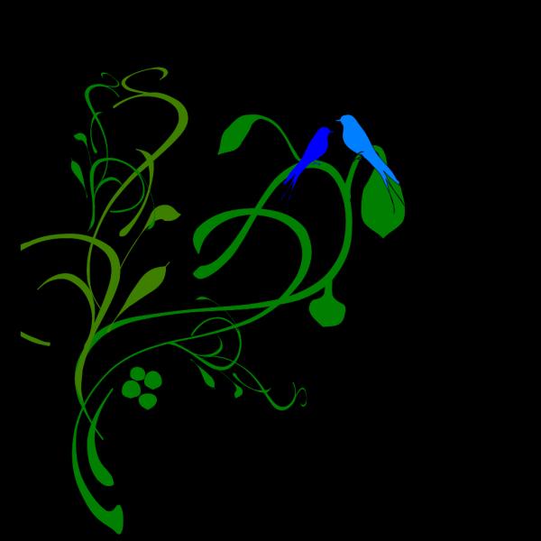 Birds On A Vine  PNG Clip art