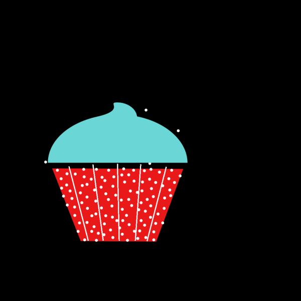 Blue And Red Polkadot Cupcake PNG Clip art