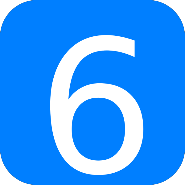 Blue, Rounded, Square With Number 6 PNG Clip art