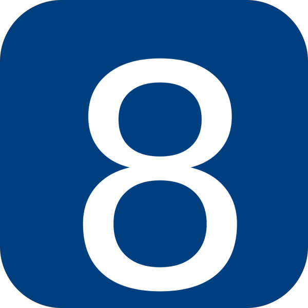Blue, Rounded, Square With Number 8 PNG Clip art