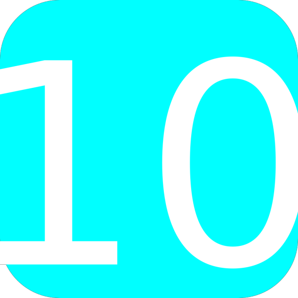 Light Blue, Rounded, Square With Number 10 PNG Clip art