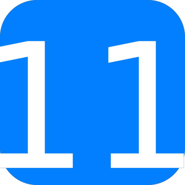 Blue, Rounded, Square With Number 11 PNG Clip art