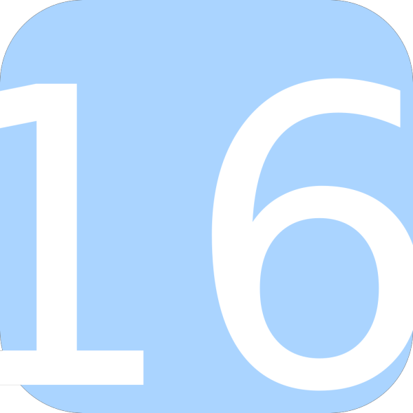 Light Blue, Rounded, Square With Number 16 PNG Clip art