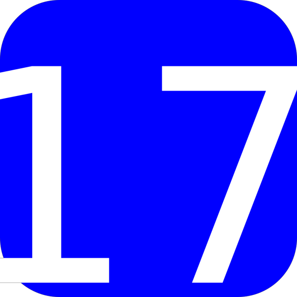 Blue, Rounded, Square With Number 17 PNG Clip art